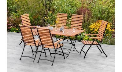 MERXX Gartenmöbelset »Schloßgarten«, (7 tlg.), 6 Klappsessel mit Tisch kaufen