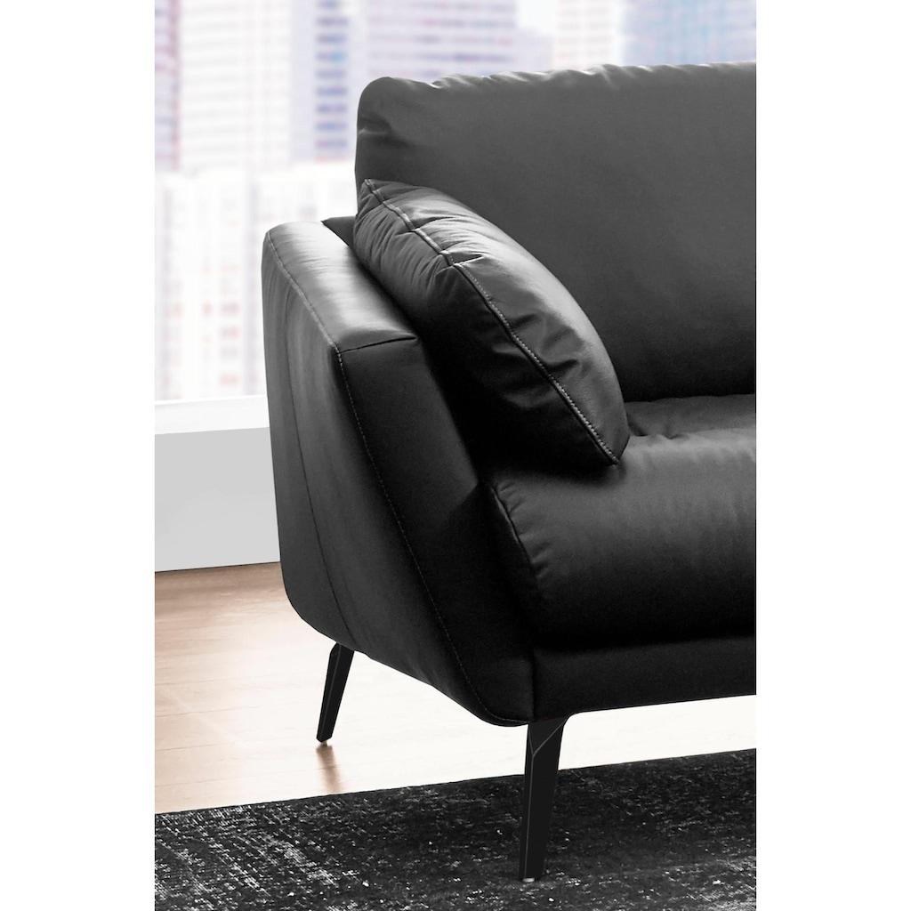 W.SCHILLIG Ecksofa »softy«, mit dekorativer Heftung im Sitz, Füße schwarz pulverbeschichtet