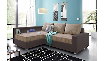 COLLECTION AB Ecksofa, inklusive Bettfunktion, Bettkasten und Federkern, wahlweise mit RGB-LED-Beleuchtung und USB-Port, Inklusive seitlichem Regalboden, Ottomane links oder rechts montierbar kaufen