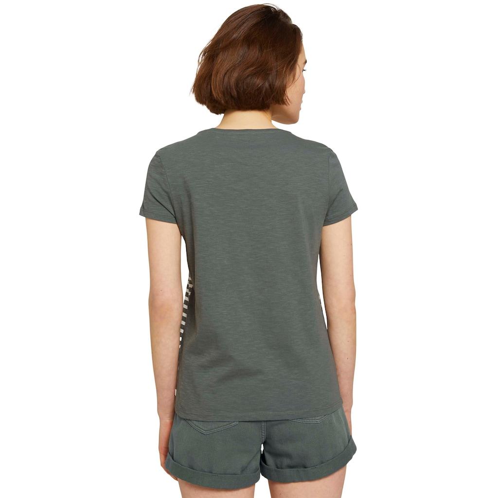 TOM TAILOR Denim T-Shirt, mit kleiner Stickerei