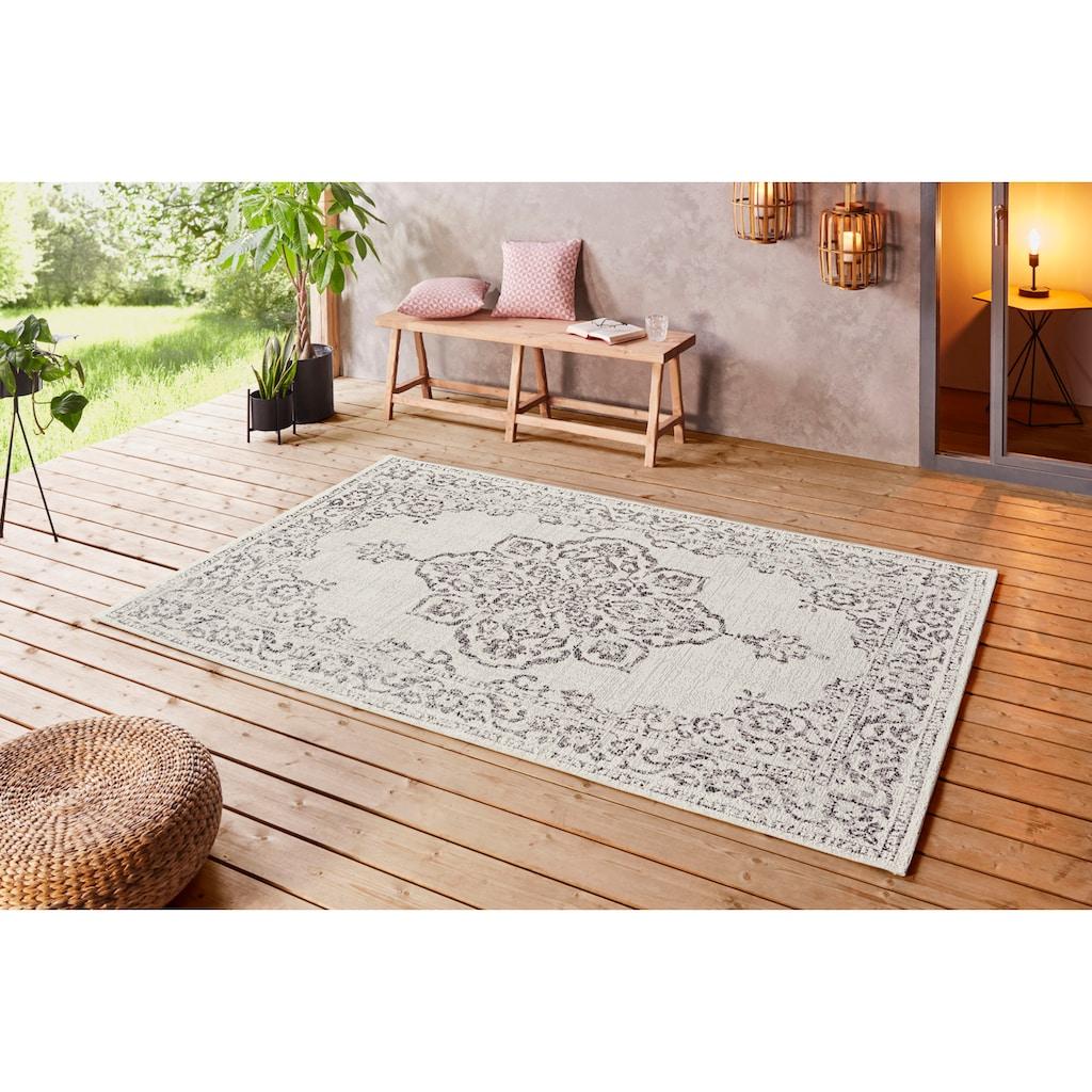 bougari Teppich »Tilos«, rechteckig, 8 mm Höhe, Vintage Design, In- und Outdoor geeignet, Wohnzimmer
