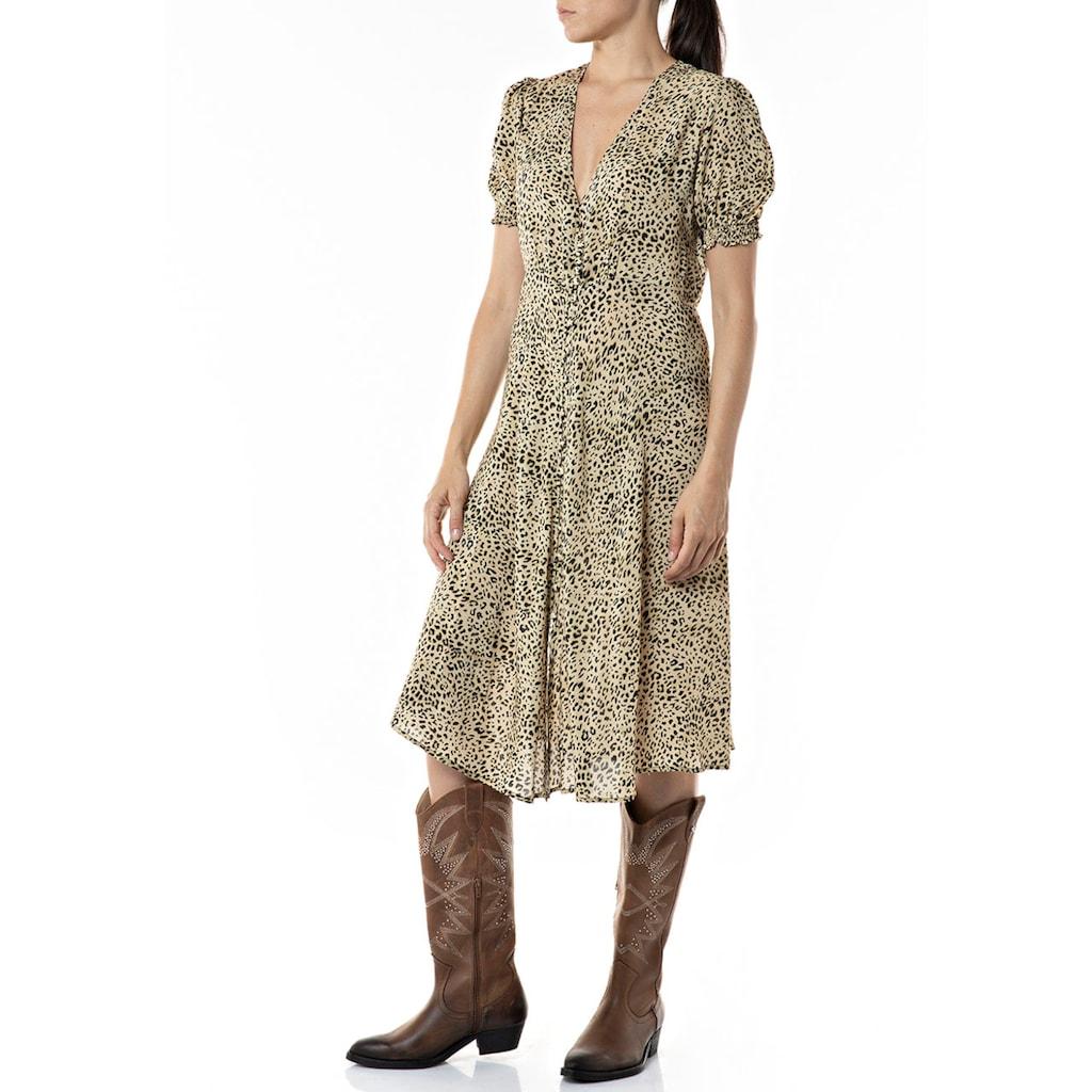 Replay Sommerkleid, süßes Midikleid mit Animalprint