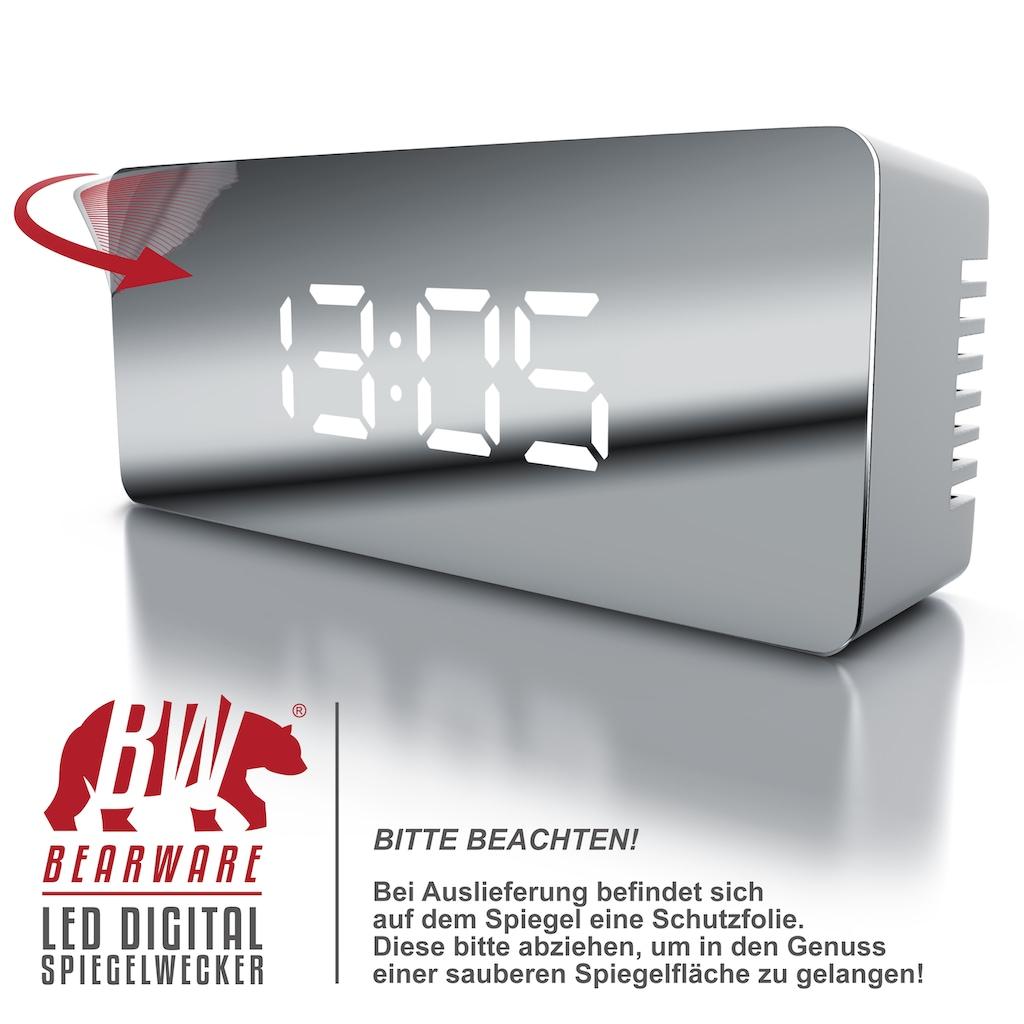 BEARWARE LED Digital Spiegelwecker inkl. Temperaturanzeige »Spiegel Wecker mit Nachtmodus«