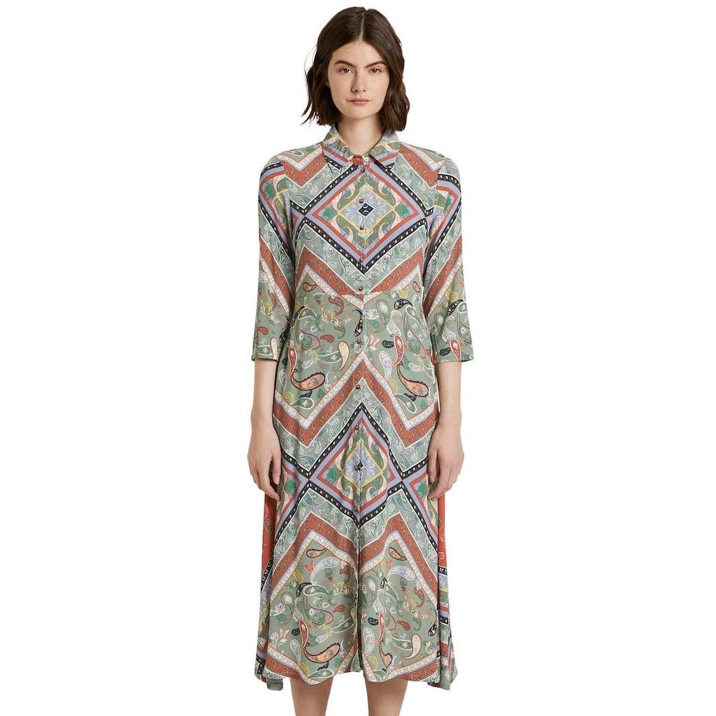 TOM TAILOR Denim Hemdblusenkleid, mit wunderschönem Paisley-Muster
