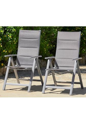MERXX Gartenstuhl »Taviano«, 2er Set, Alu/Textil, verstellbar, silber kaufen