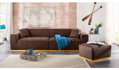 Home affaire 3-Sitzer »Terry«, mit offener Kedernaht und Holzuntergestell kaufen