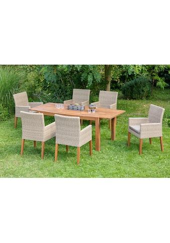 MERXX Diningset »Ranzano«, 13 - tlg., 6x Sessel, Tisch 90x200 cm, inkl. Sitzkissen kaufen