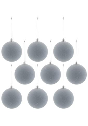 Weihnachtsbaumkugel, (Set, 9 St.), aus Kunststoff mit Samtdekoration kaufen