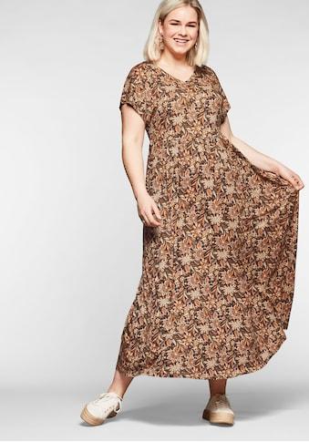 Sheego Maxikleid, mit Blumendruck und weitem Rockteil kaufen