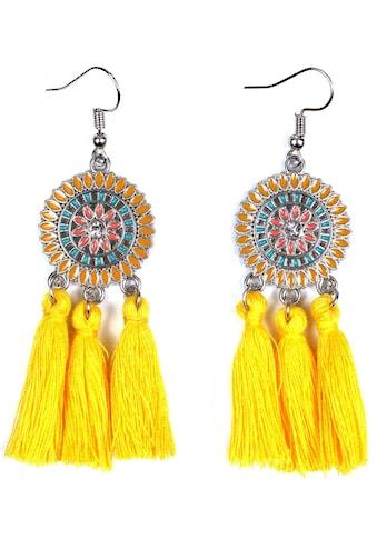J.Jayz Paar Ohrhaken »rundes Design mit Ornamenten und Quasten«, mit Glassteinen kaufen