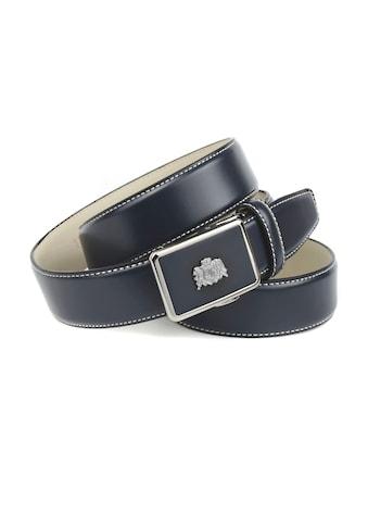 Anthoni Crown Ledergürtel, in dunkelblau mit Kontrast Stitching in weiß kaufen