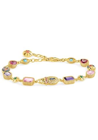 THOMAS SABO Armband »Große Glücksbringer gold, A1915-295-7-L19v«, mit Perlmutt, synth. Korund, Glassteinen und Zirkonia kaufen