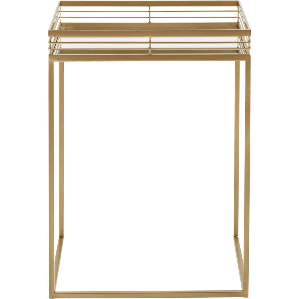 Leonique Beistelltisch »Yanis«, (2 St.), mit Ablageflächen aus Spiegelglas und goldfarbenem Metallgestell