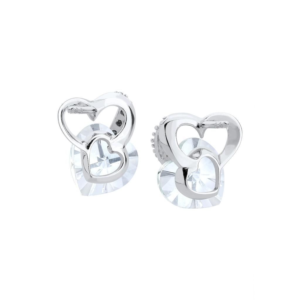 Elli Paar Ohrstecker »Herz Liebe Kristalle 925 Silber«