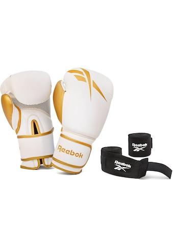 Reebok Boxhandschuhe »12oz. Boxhandschuhe + Handbandagen gold«, (Set, 4) kaufen