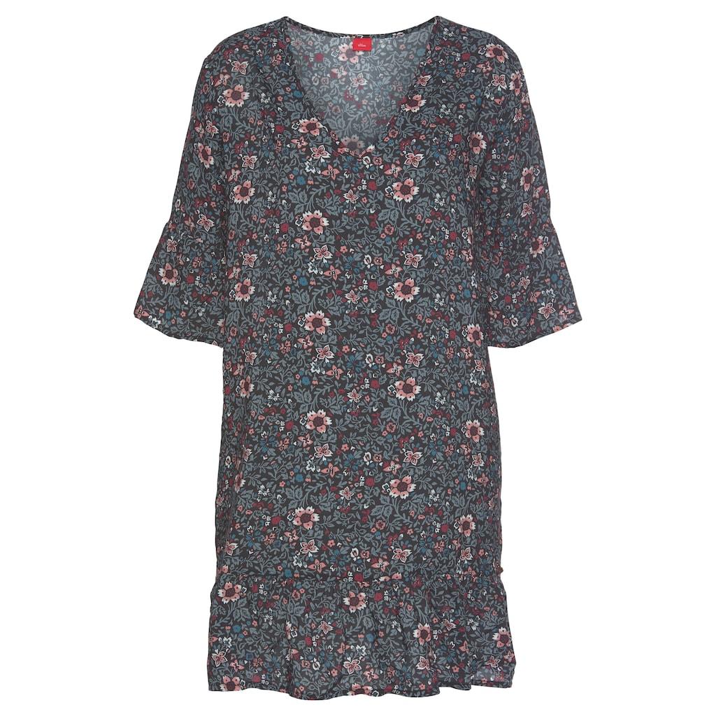 s.Oliver Bodywear Nachthemd, im Allover-Muster mit Rüschensäumen
