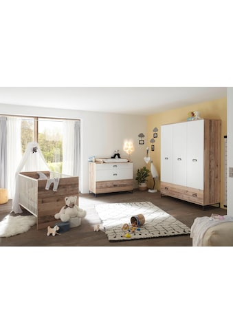 Babyzimmer-Komplettset »Ronny«, (Set, 3 St.), Bett + Wickelkommode + 3-trg. Schrank kaufen