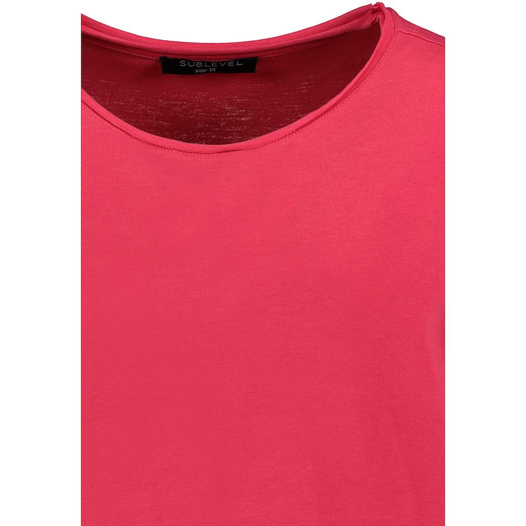 SUBLEVEL Rundhalsshirt, mit offenen Kanten
