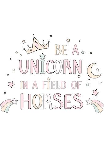 Wall-Art Wandtattoo »Kvilis - Schriftzug Be a unicorn in a field of horses« kaufen