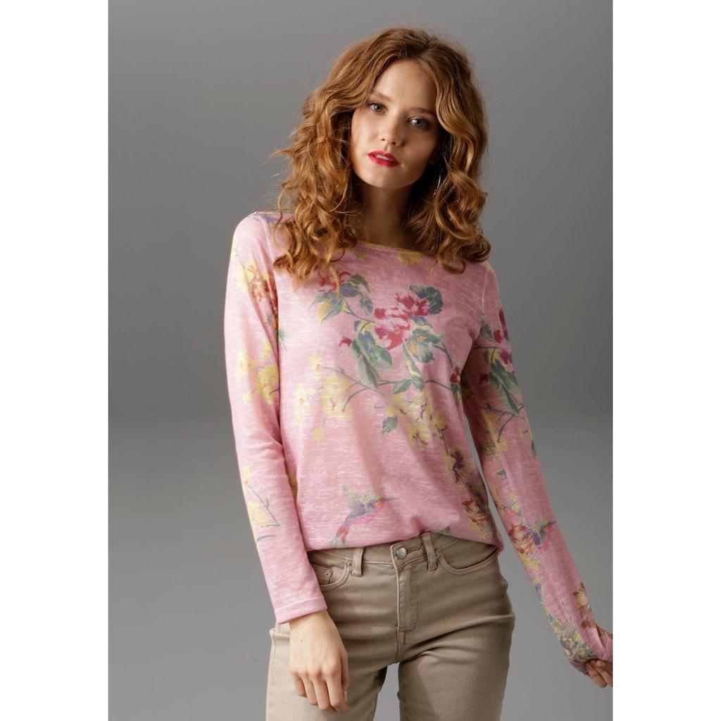 Aniston CASUAL Langarmshirt, mit großflächigem Blumendruck und Vögeln
