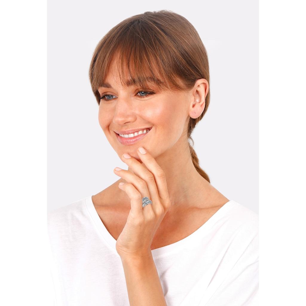 Elli Fingerring »Offen mit Feder Design 925 Silber«