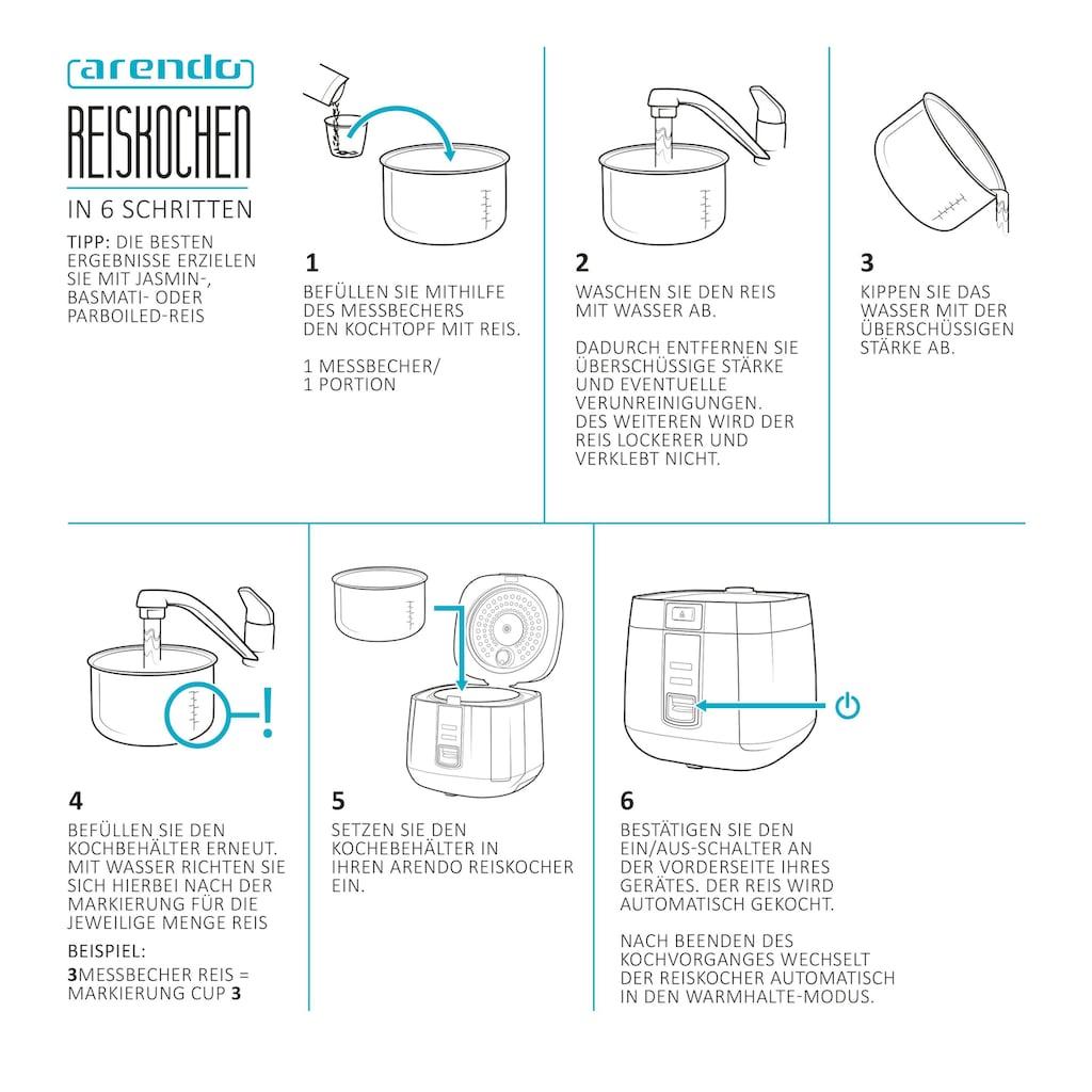 Arendo Reiskocher mit Hitzeschutz & Dampfgareinsatz