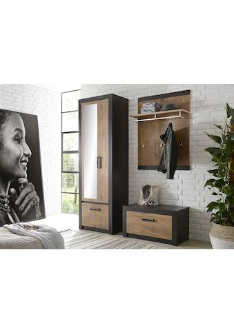 my home Garderoben-Set »BRÜGGE«, (Komplett-Set, 3 tlg., bestehend aus Garderobenschrank mit Spiegel, Garderobenbank und -paneel), mit einer dekorativen Rahmenoptik kaufen