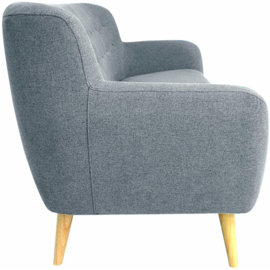 Home affaire 3-Sitzer »Noris«, mit Zierknopfheftung im Rücken, skandinavischer Stil, Holzfüße