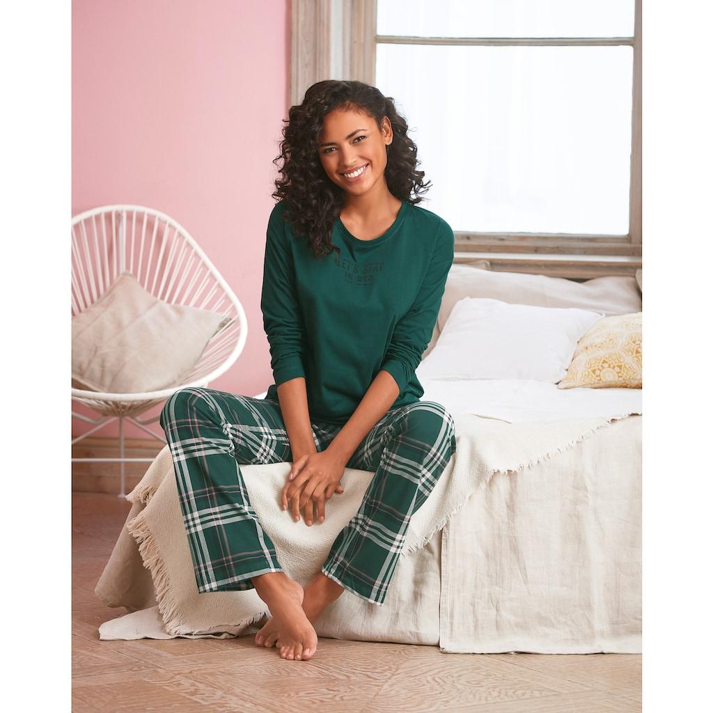 Vivance Dreams Pyjama, mit Schriftprint und gemusterter Hose