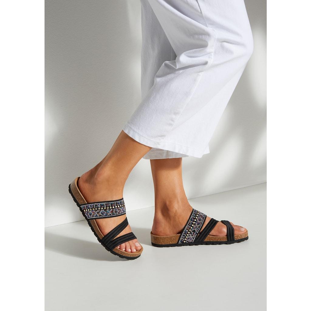 LASCANA Pantolette, mit Korkfußbett und elastischen Riemen
