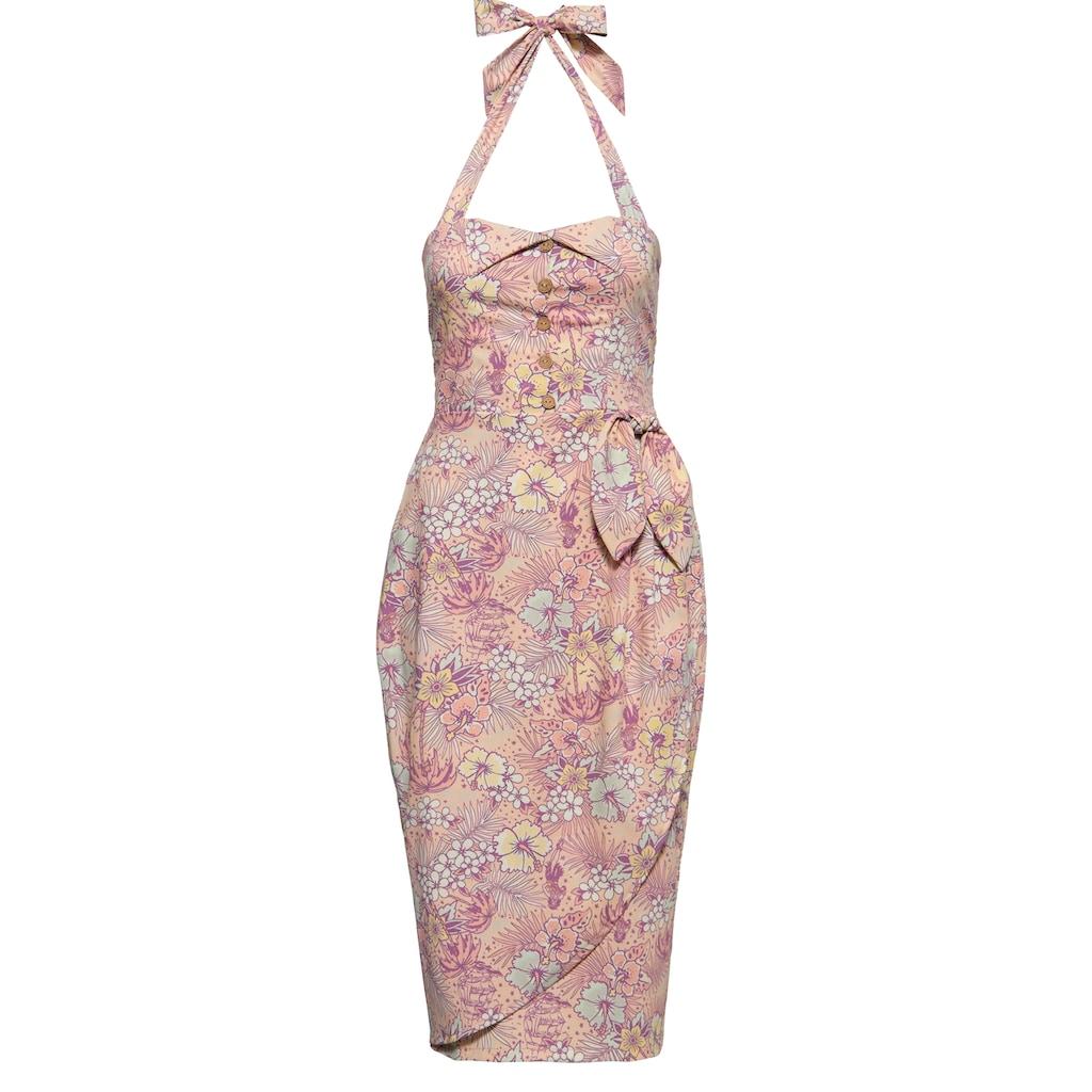 QueenKerosin Sommerkleid, in Wickel-Optik und mit tropischem All-Over-Muster