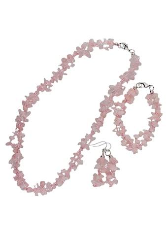 Firetti Schmuckset »Collier, Armband, Ohrhaken, rosa, Glanz, massiv«, mit Rosenquarz... kaufen
