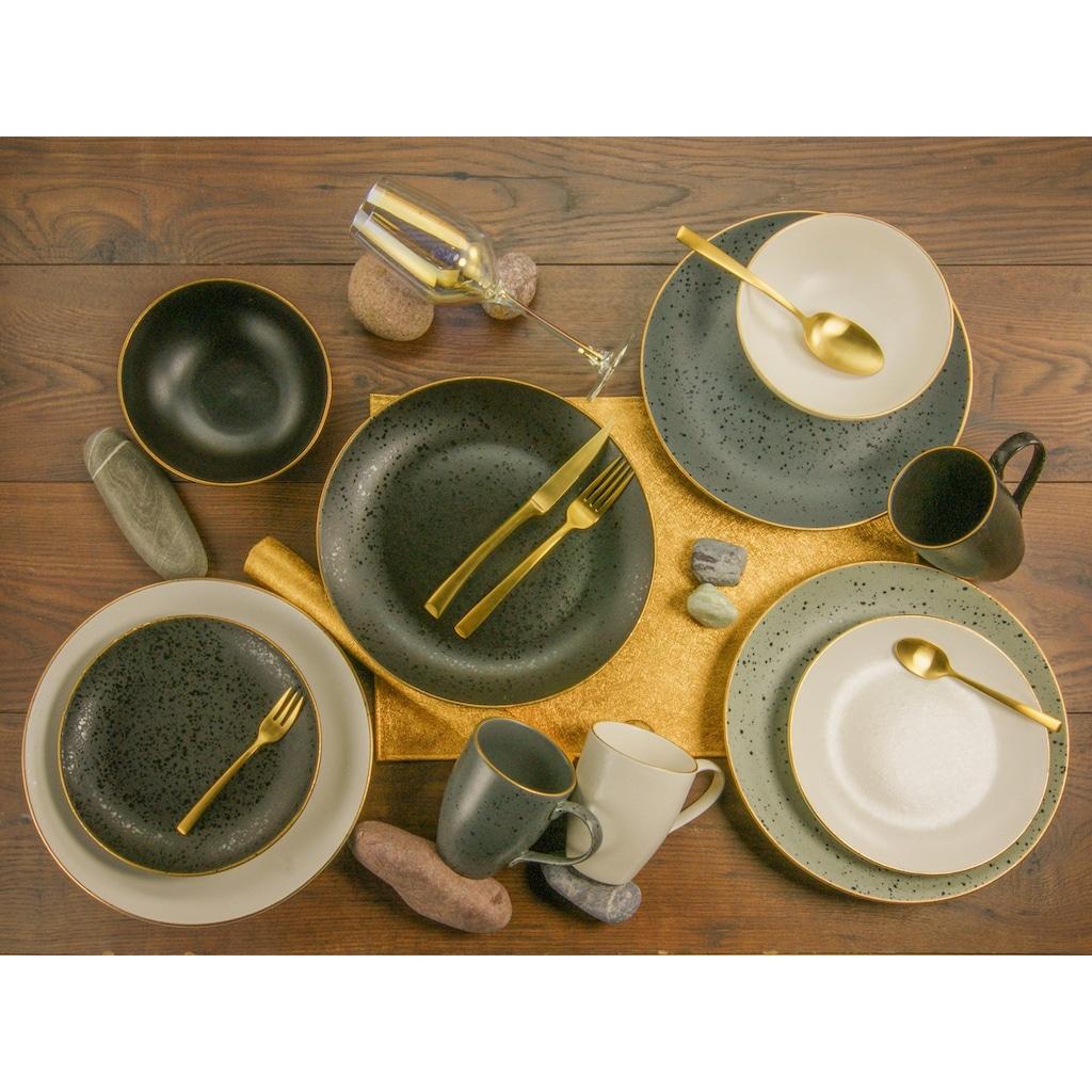 CreaTable Kombiservice »Industrial Gold«, (Set, 16 tlg.), Sprenkelglasur