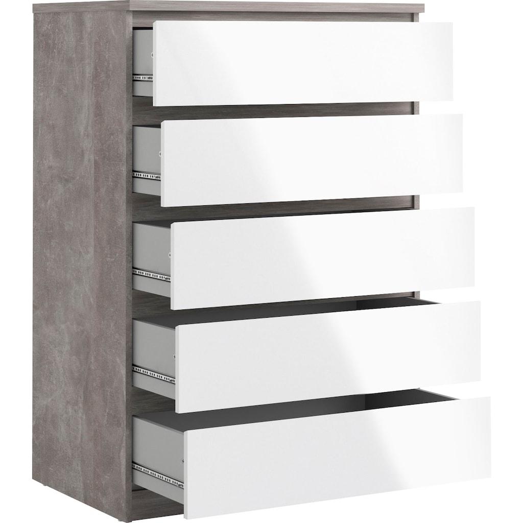 Home affaire Kommode »Naia«, Made in Denmark, mit abgerundeten Schubladenkanten, Schubladen auf Metallgleiter, Breite 77 cm