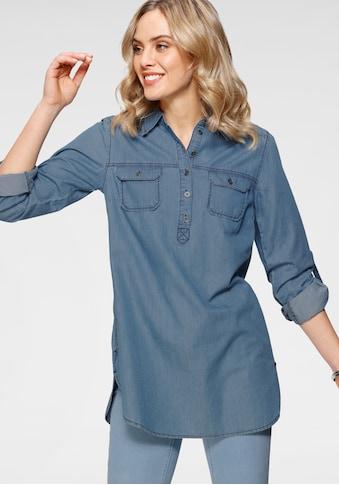 Arizona Jeansbluse »Krempelärmel mit Riegel«, im Tunikastil kaufen