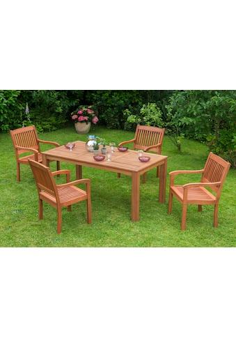MERXX Diningset »Maracaibo«, 5 - tlg., 4 Sessel, 1 Tisch 170x90 cm, Eukalyptusholz kaufen