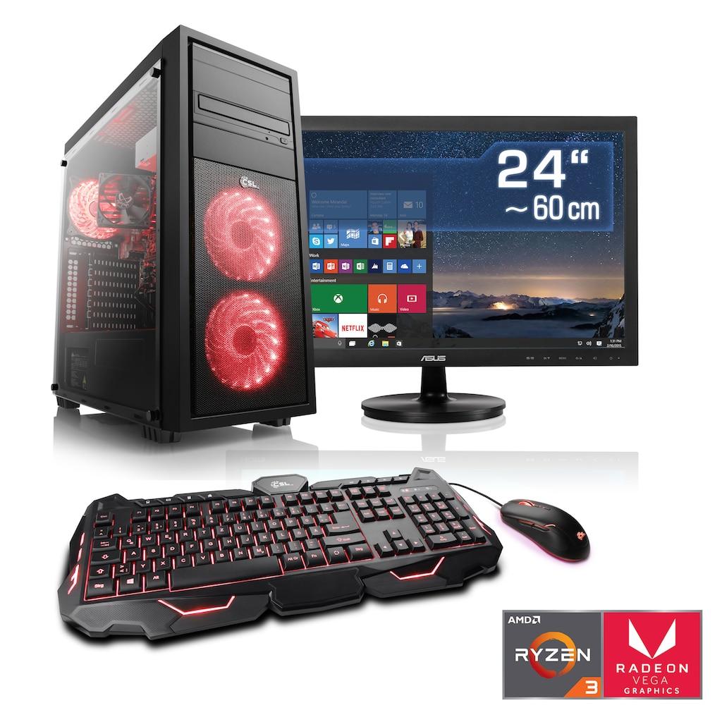 "CSL Multimedia PC Set | Ryzen 3 2200G | Vega 8 | 8GB DDR4 | 24"" TFT"
