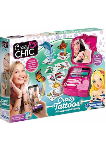 Clementoni® Kreativset »Crazy Chic Crazy Tattoos mit augmented reality App«, (Set), Kostenlose App erweckt Tattoos; Made in Europe kaufen