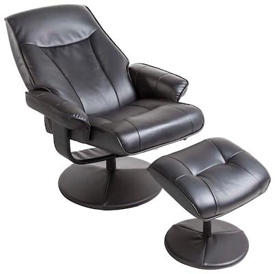 Massagesessel mit Hocker in Schwarz