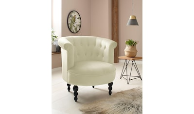 Home affaire Sessel »Egino«, aus schönem weichen Velvet Bezug, mit Massivholz Beinen, Sitzhöhe 45 cm kaufen