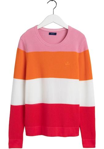 Gant Rundhalspullover, in modischer Colour-Blocking Optik kaufen