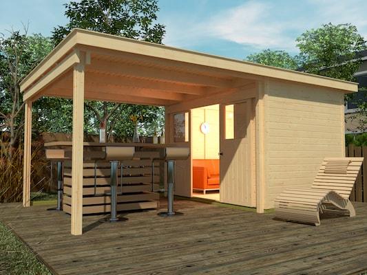 Gartenhaus mit großen Vordach