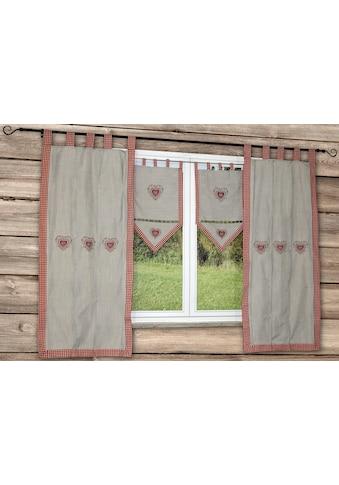 HOSSNER - ART OF HOME DECO Vorhang »HERZSEE«, bestickter Seitenschal mit Karo-Saum kaufen
