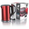 Arendo Wasserkocher »ELEGANT 1,5 Liter - Rot Metallic«, 2200 W, mit Temperatureinstellung