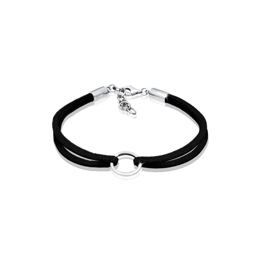 Elli Armband »Kreis Geo Velour Optik Trend 925 Sterling Silber«