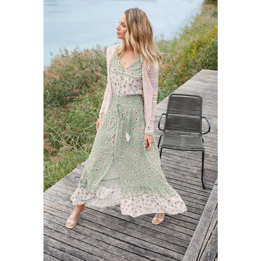 Aniston CASUAL Maxikleid, mit zarten Blumendruck und Patch-Optik - NEUE KOLLEKTION