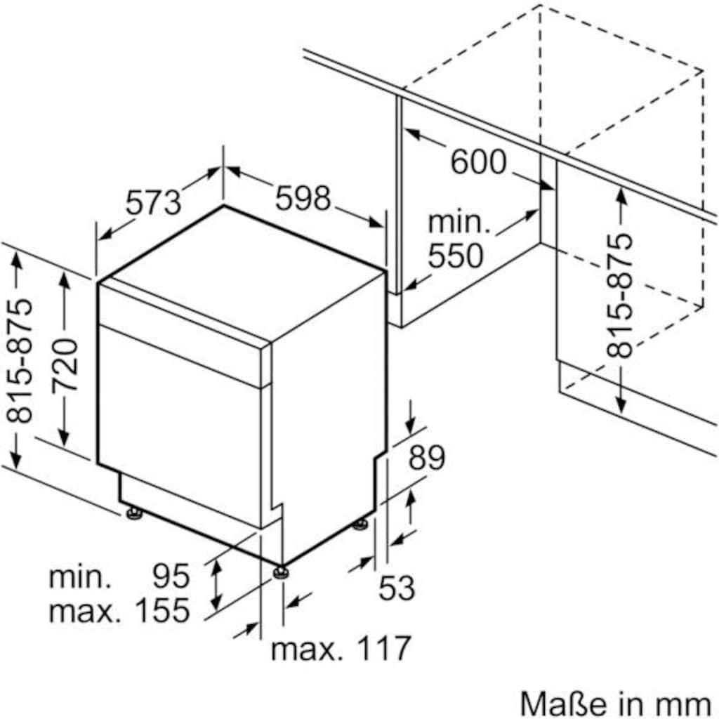 SIEMENS Unterbaugeschirrspüler »SN436S07GE«, iQ300, SN436S07GE, 12 Maßgedecke