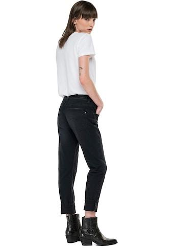 Replay Slim-fit-Jeans »Marty 573 Bio«, Boyfit - Black Stretch Denim mit Krempelsaum kaufen