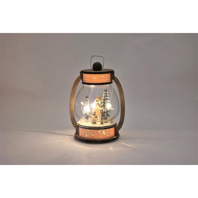 HGD Holz-Glas-Design Weihnachtslaterne mit LED-Beleuchtung