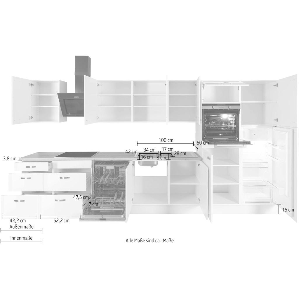 OPTIFIT Küchenzeile »Cara«, 400 cm breit, inkl. Elektrogeräte der Marke HANSEATIC, Soft-Close-Funktion, Vollauszüge, 38 mm starke Arbeitsplatte